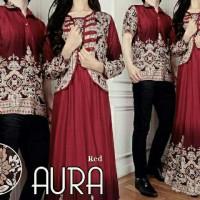 Couple Aura Merah Maron Baju Muslim Pesta Undangan Sarimbit Batik Aura
