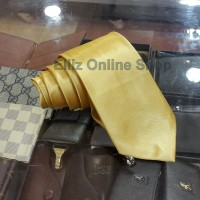 Dasi Panjang Pria Polos Gold Muda Lebar 7,5cm /3 inch