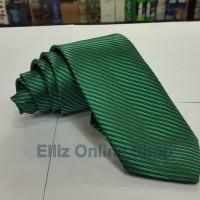 Dasi Panjang Pria Motif Salur Hijau - Lebar 3 inch (7,5 - 8cm)