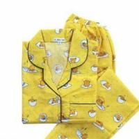 piyama gudetama/piyama katun/1 set celana panjang pendek/piyama XL