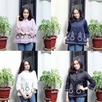 GF GAMILA Top/kemeja bordir bunga motif/baju batik murah/blouse outer