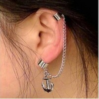 Ear clip chain angker | anting jepit rantai | aksesoris import murah