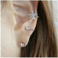 Ear clip silver star + anting | anting jepit | aksesoris import murah