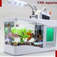 USB Aquarium Mini + Jam Kalender Digital + Box Alat Tulis.