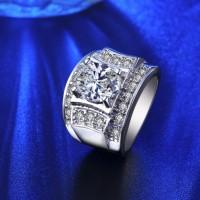 Cincin Lapis Emas Putih Berlian Imitasi Pria Batu CZ Besar - BR135