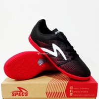 Sepatu Futsal SPECS Apache IN Black / Red poppy White