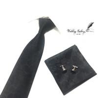 gift set batik hitam ready isi dasi panjang, pocket square, cufflinks