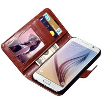 Wallet PU Leather Syntetic Card Flip Case Book Cover Samsung Galaxy S6