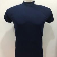 Kaos Kerah Tinggi Polos Biru Dongker - Kaos Lengan Pendek