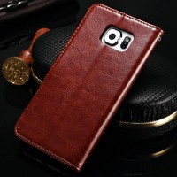 Premium Leather Flip Cover Card Wallet Dompet Case Samsung Galaxy S6