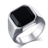 Cincin Pria Titanium Stainless Steel Square Black Onyx Stone