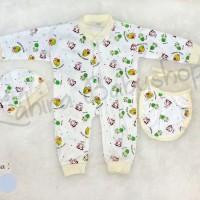Jumper Bayi Set +Topi +Slaber, Jumpsuit Bayi, Baju Kodok bayi,