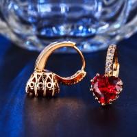 Anting Emas 18k Asli Batu Love Merah Berlian Imitasi Wanita - BE021