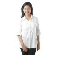 Kemeja Wanita Putih Polos / Kemeja Bahan Katun Stretch / Baju Kantor