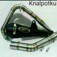 Knalpot Racing M4 Black Doft Fullset PNP100% Ninja250,FI,Z250,Karbu