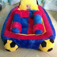 Kasur bayi karakter + bantal guling motif bola Barcelona