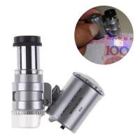 Mini 60X Pocket Microscope (Mikroskop 2In1 +Sinar UV u/ Cek Uang Asli)