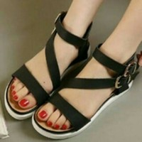 Sandal Docmart Flat Shoes Silang Tali.