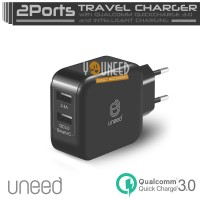 UNEED UCH04Q3 Smart Travel Charger 2 Ports Qualcomm Quick Charge 3.0