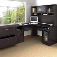 Meja Kantor/Meja Kerja Bentuk L Dengan Rak Buku