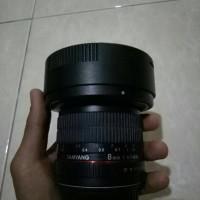 lensa samyang for canon f 3.5/8mm ring merah