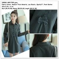 Mini Dress Kemeja Kerja Garis Lengan Panjang Baju Wanita Korea Import