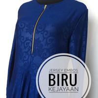 DISKON TERMURAH gamis jersey embos, baju muslim warna BIRU wanita,cewe