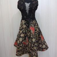 Dress Wanita Baju Batik Pesta Victoria Kupu Batik Brokat