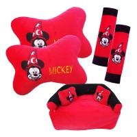 Bantal , sarung tissu, sarung seat belt Mobil 3 in 1 Mickey Mouse