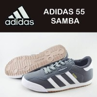 Sepatu Sneakers Wanita ADIDAS 55 SAMBA warna hitam garis putih