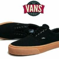 Sepatu Vans hitam sol coklat/ sepatu kerja jalan pria Premium