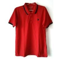 Kalibre Men Polo Shirt Pria Pique Microfiber Yarn Merah strip Ungu tua