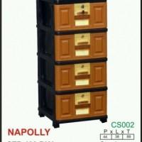 (KHUSUS gojek) Laci/Lemari Stockcase Plastik Napolly 4 susun