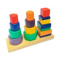 mainan edukatif edukasi anak kayu balok SNi menara susun 3 Bentuk Paud