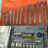 Tool Set Kunci Sok Set 21 pcs + Kunci Ring Pas Set 11 pcs Tool Kit