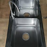 Sink Gs dua lubang full set/ Bak cucian piring