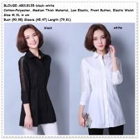 Baju Atasan Kerja Kemeja Hitam Putih White Blouse Wanita Korea Import