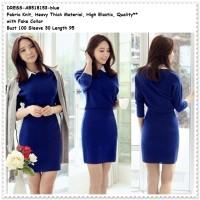 Blue Sweater Mini Dress Kemeja Rajut Knit Baju Wanita Korea Import