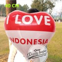 balon foil love merah putih / balon HUT RI / balon 17 agustus 40 cm