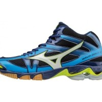Sepatu Volly / Voli Mizuno V1GA176571 Wave Bolt 6 Mid Black White Blue