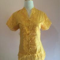Kebaya Modern Encim Lengan Pendek Warna Kuning Gold Ukuran L