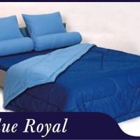 bed cover sheet shira polos warna blue royal ukuran 180 dan 160