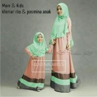 baju gamis abaya muslim couple mom n kids candy green