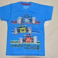 Kaos anak setelan motif mobil balap