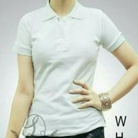 Polo shirt putih wanita / Kaos seragam polos berkerah / Kaos Cewek