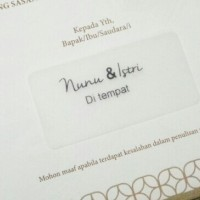 Jasa cetak print sticker label undangan transparan