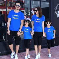 Baju Kaos COUPLE FAMILY BATMAN SILVER FOIL 2 ANAK (BIRU) Modern