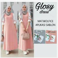 Glosy Dress Baju Muslim Wanita Murah / Gamis Wolfis / Busana Muslin