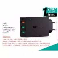 wall charger aukey PA-T14 QUALCOMM 3.0 GARANSI RESMI AUKEY INDONESIA