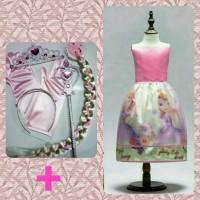 Baju Dress Anak Princes Sofia Set Mahkota Tongkat Rambut